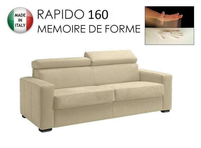 canape rapido sidney deluxe memory matelas 160 14 190 cm memoire de forme cuir vachette beige. Black Bedroom Furniture Sets. Home Design Ideas