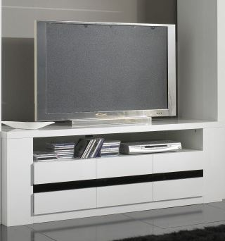 meuble tv design laque blanc et noir adriana. Black Bedroom Furniture Sets. Home Design Ideas