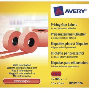 Avery boite de 10 rouleaux de 1200 étiquettes rouges sinusoïdales permanentes 26x16mm rplp1626