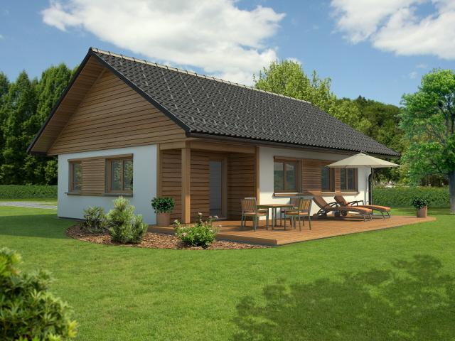 Maison à ossature bois plain-pied mila 109 / surface habitable 108.89 m² / 3 pièces / toit double pente