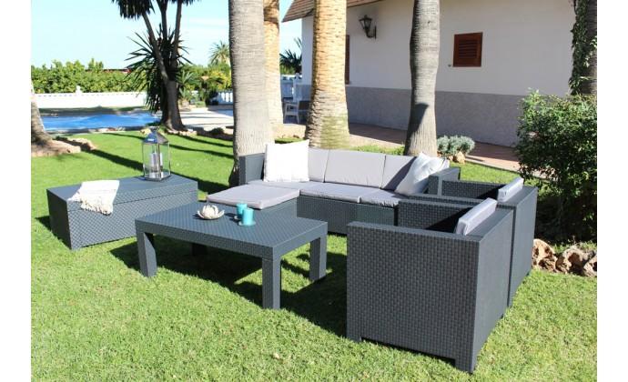 tropea salon de jardin 5 places effet resine tressee anthracite. Black Bedroom Furniture Sets. Home Design Ideas