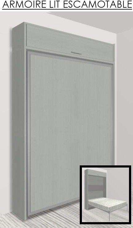 armoire lit escamotable eos chene gris couchage 140 22 200 cm. Black Bedroom Furniture Sets. Home Design Ideas