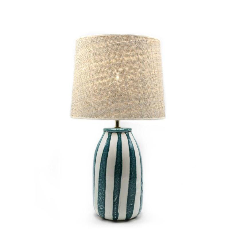 Portofino Bleu Sarah À Naturel Poser Lampe H54cm Rabanecéramique XZPuOki