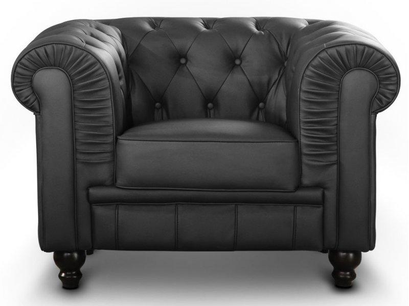 fauteuil chesterfield royal noir capitonne. Black Bedroom Furniture Sets. Home Design Ideas