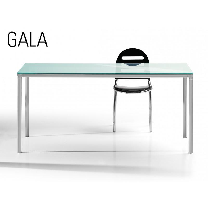 table a manger gala pietement acier plateau verre depoli. Black Bedroom Furniture Sets. Home Design Ideas