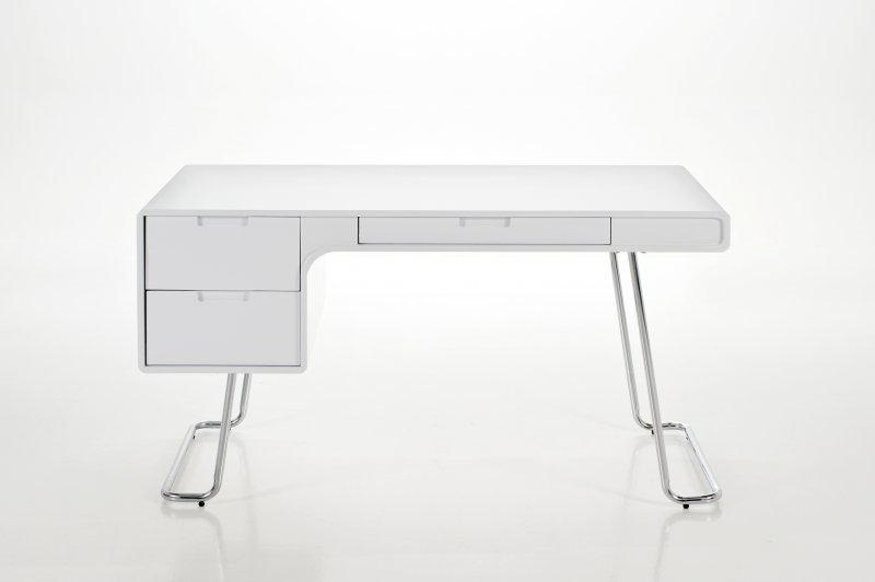 Bureau design terri laque blanc pied chrome actona design