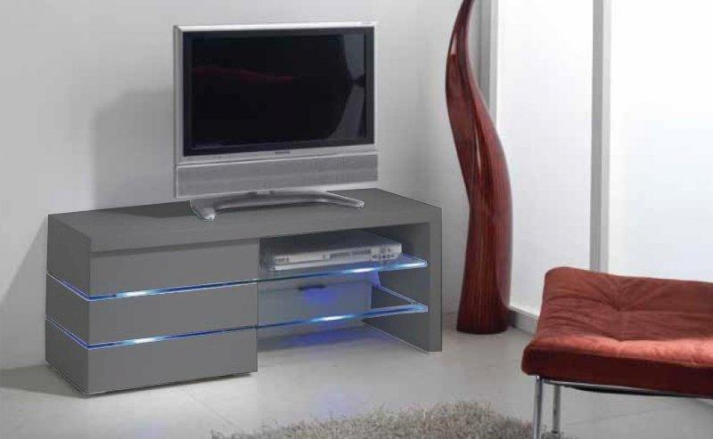 meuble tv leon gris mat et lumiere led. Black Bedroom Furniture Sets. Home Design Ideas
