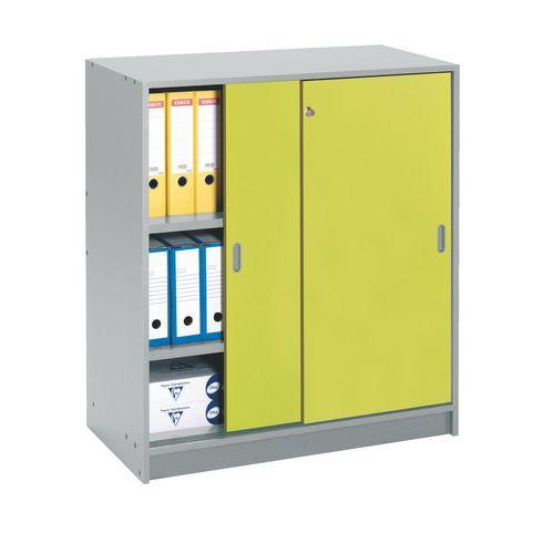 Armoires basses bois h 100 x l 90 cm portes coulissantes for Armoire 110 cm porte coulissante