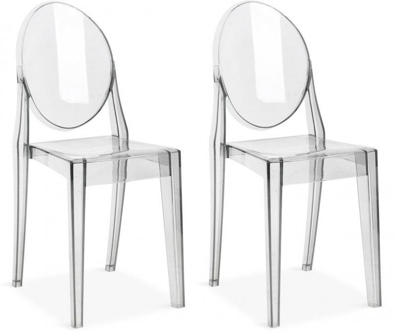 Lot de 2 chaises de salon raven transparente for Chaise transparente habitat