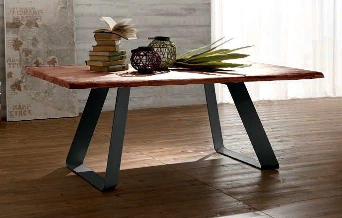 melodie table repas en ch ne massif teint chocolat pi tement design en m tal anthracite. Black Bedroom Furniture Sets. Home Design Ideas