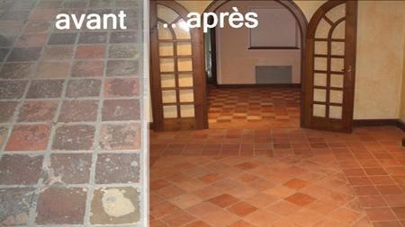 Salon carrelage terre cuite for Carrelage en terre cuite