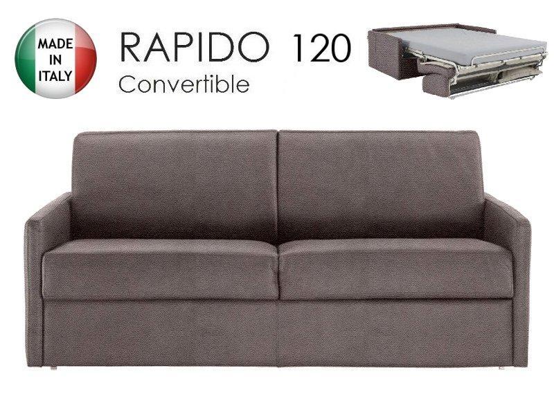 Canape lit 2 3 places sun convertible ouverture rapido 120cm microfibre taupe - Canape convertible rapido fly ...