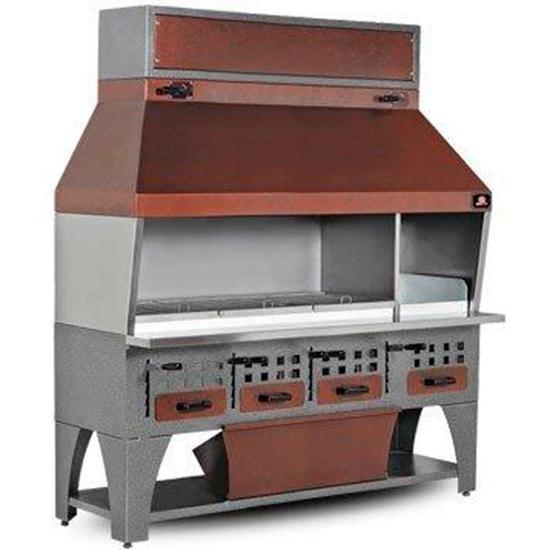 Charbon de bois 2150 mm avec auvent sur armoire avec tiroirs à charbon - ajj0008
