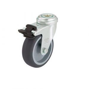 Roulette d'appareil pivotante avec frein à trou central réf.    4728c