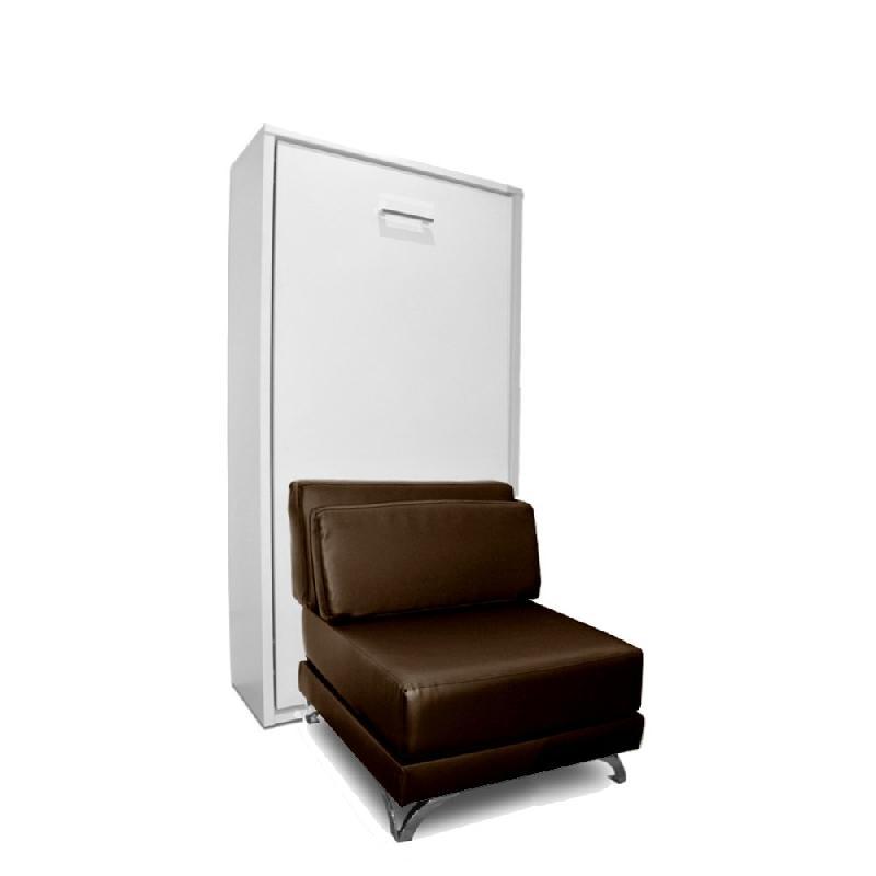 armoire lit escamotable town canape integre similicuir marron couchage 90 200cm. Black Bedroom Furniture Sets. Home Design Ideas