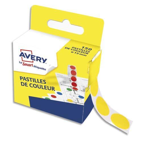 Avery boîte distributrice de 150 pastilles adhésives ø15 mm. coloris jaune.