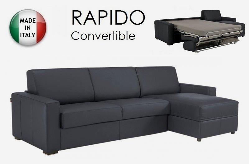 Canape d 39 angle dreamer rapido 160cm cuir eco gris graphite matelas memoi - Canape d angle rapido ...