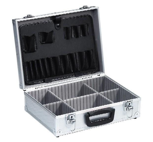 mallette en aluminium compartiments et porte outils. Black Bedroom Furniture Sets. Home Design Ideas