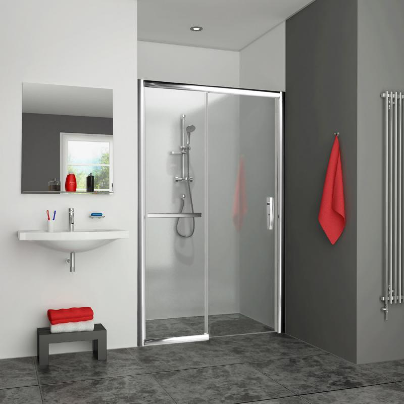 porte de douche coulissante grande largeur 2 elements sans seuil 1 coulissant et 1 fixe a. Black Bedroom Furniture Sets. Home Design Ideas
