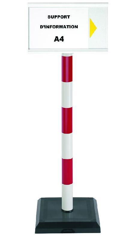 Poteau PVC grande hauteur Rouge/Blanc sur socle lester 3kg avec support d'information A4 - 2000161