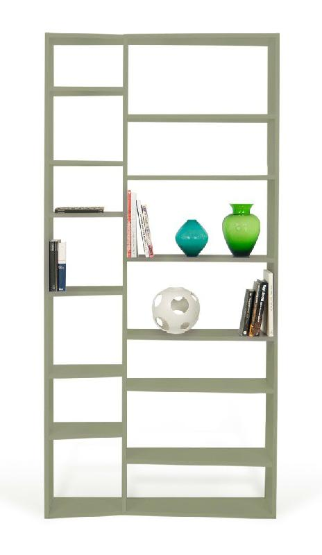 Temahome Buddy 14 Casiers Bibliotheque Etagere Design Laquee Gris Mat