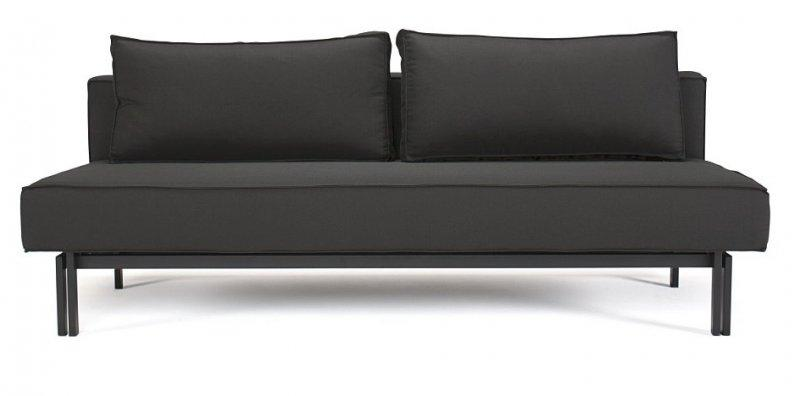 Innovation living canape lit design sly noir convertible for Canape 140 cm de large