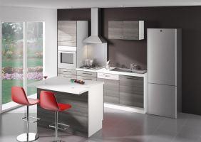 Archipel cuisine complete ilot bois gris for Cuisine complete bois
