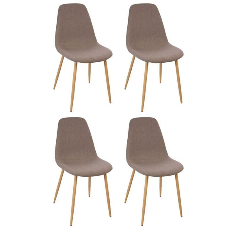 Lot de 4 chaises design roka 87cm taupe paris prix