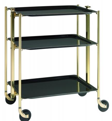 table roulante pliante textable dore 3 plateaux noir 500351002. Black Bedroom Furniture Sets. Home Design Ideas