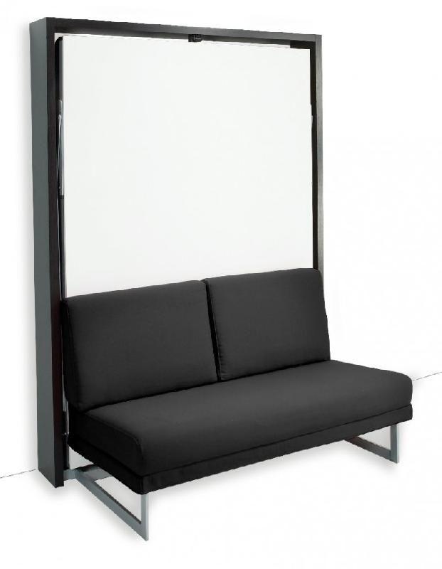 Armoire lit verticale magic structure weng fa ade blanc - Canape avec pouf integre ...
