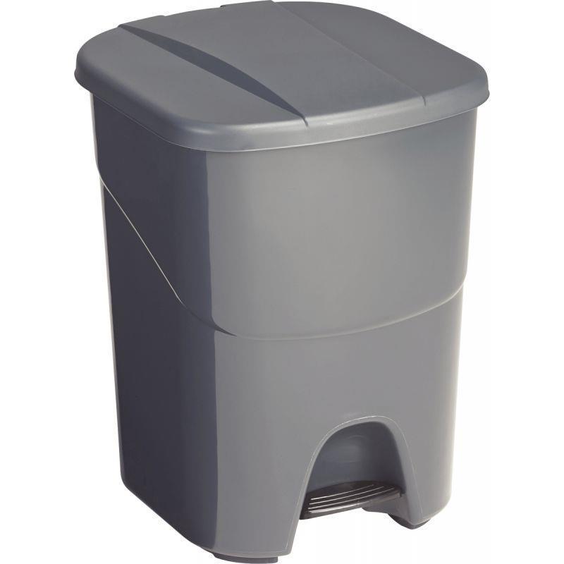 Poubelle duo à pédale 40 litres anthracite/noir