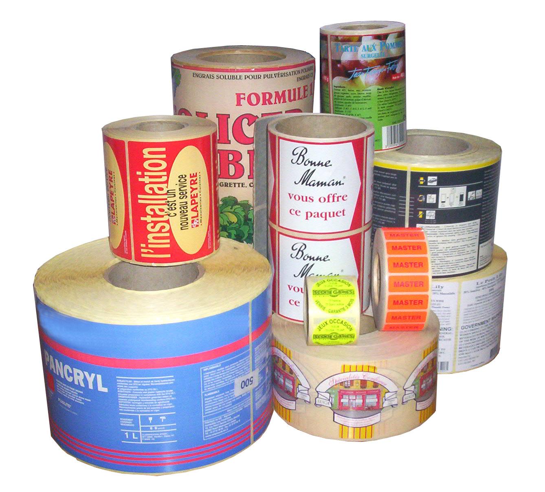 étiquette adhesive publicitaire et d'emballage