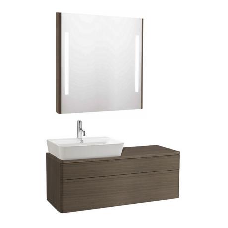 Meuble de salle de bain suspendu 120x45cm bois cendr for Meuble salle de bain bois suspendu