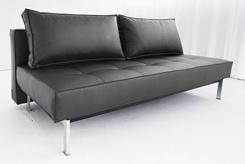 canape lit design sly facon cuir noir innovation convertible lit 140 200 cm. Black Bedroom Furniture Sets. Home Design Ideas