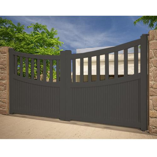 portail alu 2 battants concave gris anthracite 3x1 60m. Black Bedroom Furniture Sets. Home Design Ideas