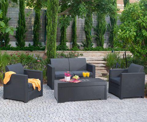 salon de jardin en r sine tress e limousine. Black Bedroom Furniture Sets. Home Design Ideas