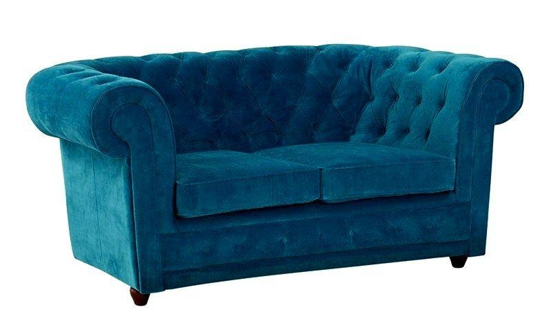 canape chesterfield deluxe 2 places en velours turquoise capitonne. Black Bedroom Furniture Sets. Home Design Ideas