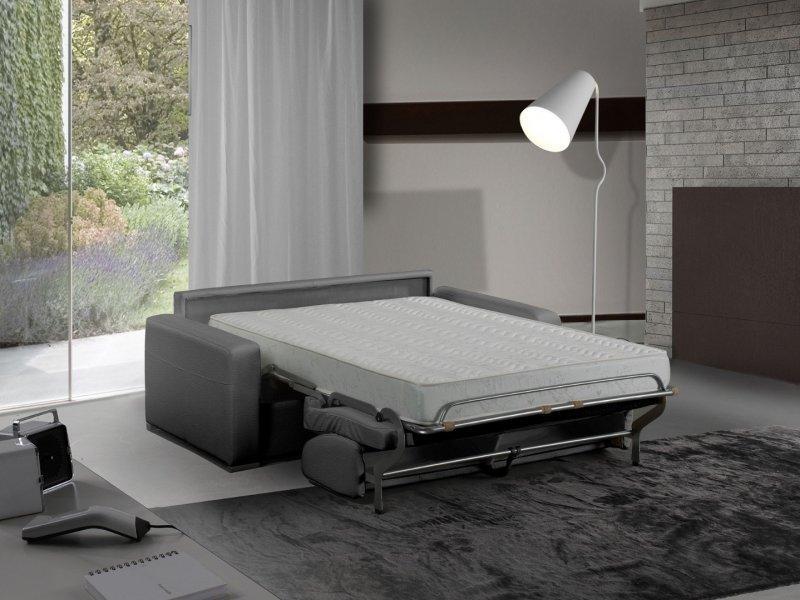 canape lit 3 places master convertible ouverture rapido 140 cm cuir eco gris graphite matelas 18. Black Bedroom Furniture Sets. Home Design Ideas