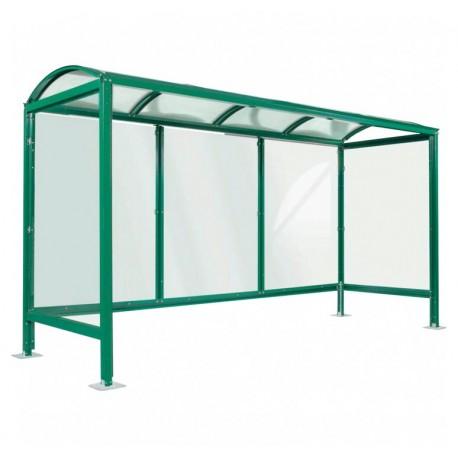 Abri bus viareggio / structure en acier / bardage en verre trempé