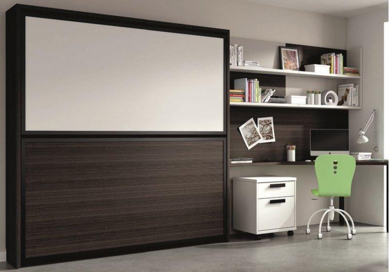 Armoire lit superposee transversale avec bureau et etageres