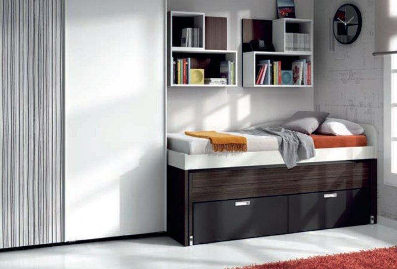 lit gigogne compact samy avec 2 tiroirs couchage 90 x 190. Black Bedroom Furniture Sets. Home Design Ideas