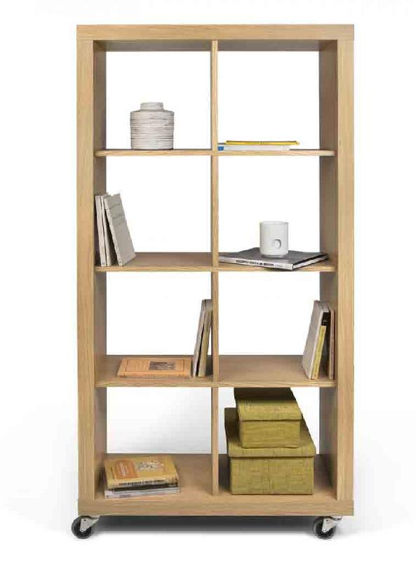 rolly 2x4 etagere sur roulettes h172 x l86 cm chene. Black Bedroom Furniture Sets. Home Design Ideas