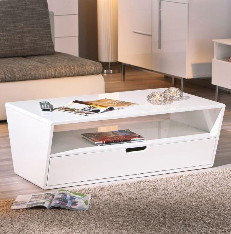 Table basse neomi blanche avec un tiroir et une niche - Table basse ronde avec tiroir ...