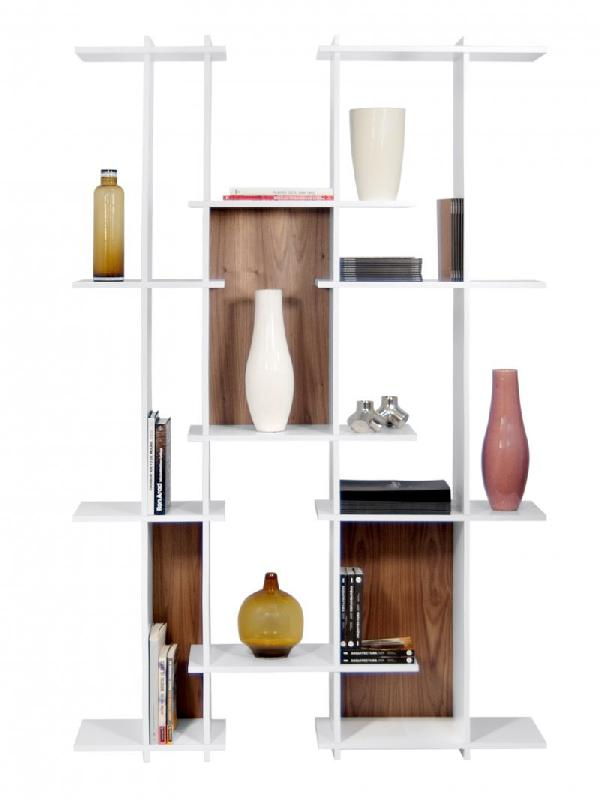 temahome strat bibliotheque au design destructure avec casiers noyer. Black Bedroom Furniture Sets. Home Design Ideas