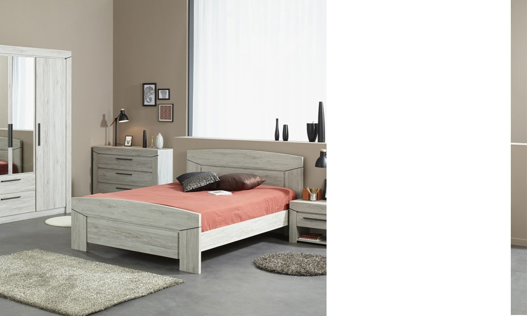 chambre adulte complete contemporaine couleur chene gris button. Black Bedroom Furniture Sets. Home Design Ideas