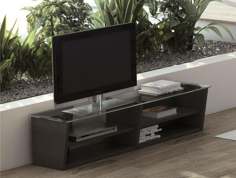 Temahome oliva meuble tv design wenge avec plateau en for Table de television en verre