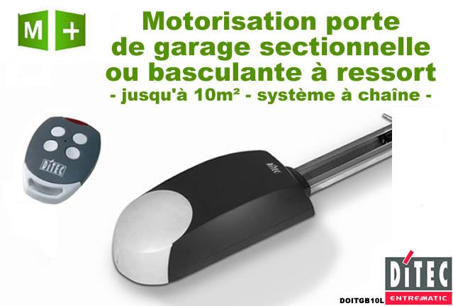 Motorisation porte de garage ditec doitgb10l rail for Tbs pro porte de garage