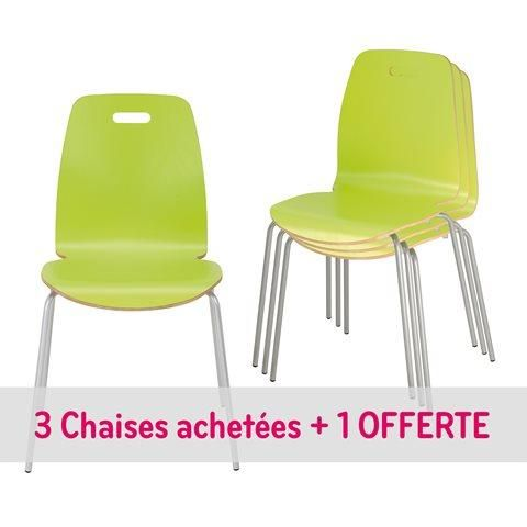 PACK CHAISES COQUE BOIS 3 + 1 OFFERTE -