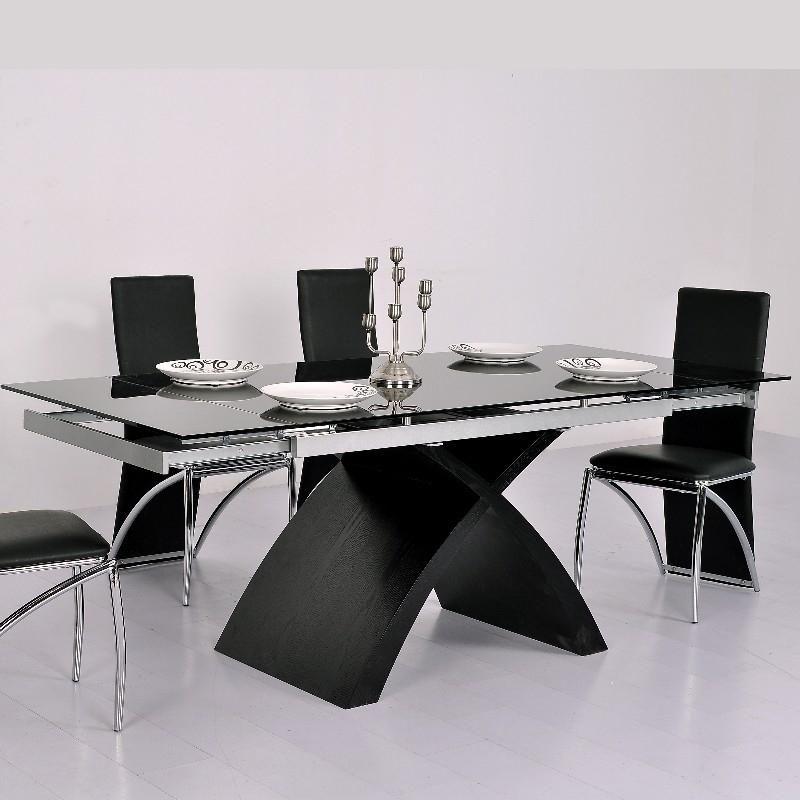 TABLE EN VERRE NOIRE À RALLONGE EXTENSIBLE XURES