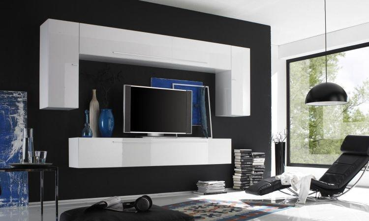 composition murale tv design primera 3 blanc brillant. Black Bedroom Furniture Sets. Home Design Ideas
